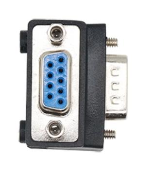 A06 Adapter kątowy DB9 męski na DB9 żeński kąt prosty